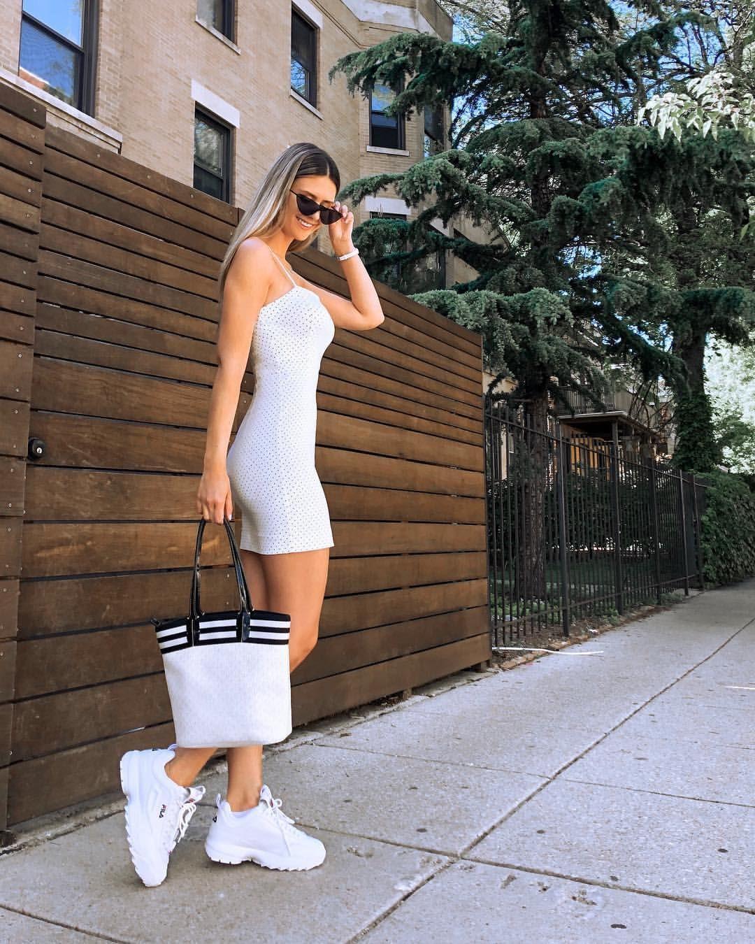 fila disruptor with mini dress